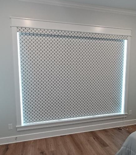 Roller Shades in a Master Bed on Country Meadows in Bullard, TX